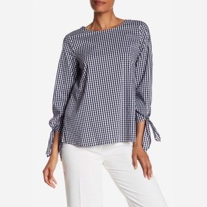 NWOT Vince Camuto Gingham Tie Cuff Blouse